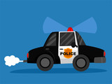 Vector Illustration of a Police Car in Blue Background