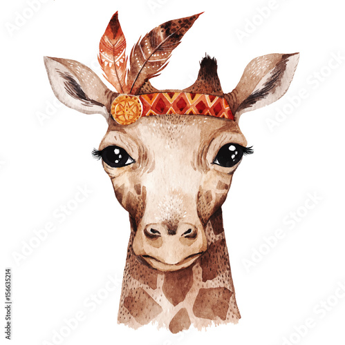 Watercolor giraffe portrait - 156635214