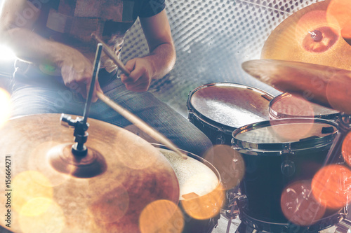 Fotobehang Muziek Music background.Drumkit on stage lights performance.Live music.Concert and band on stage.Festival and show background