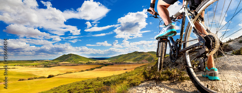 Mountain bike.Sport and healthy life.Extreme sports.Mountain bicycle and man.Life style outdoor extreme sport - 156664434