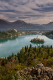 Landscape of Lake and Island in Autumn- Lake Bled , Slovenia
