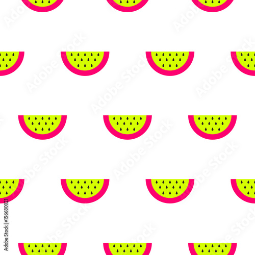 Watermelon bright neon seamless vector pattern.