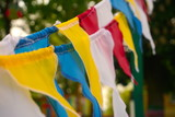 multicolored striped triangular flags on a two rope, closeup, focus - 156682632