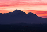 Silhouette of the Gran Sasso in Abruzzo at sunset resembling the profile of the Sleeping Beauty