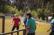 Fit women training on fitness trail in the boot camp