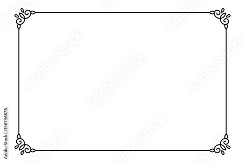 Ornamental decorative page frame. Vector Line style border template