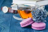 lavender green tea on wooden background