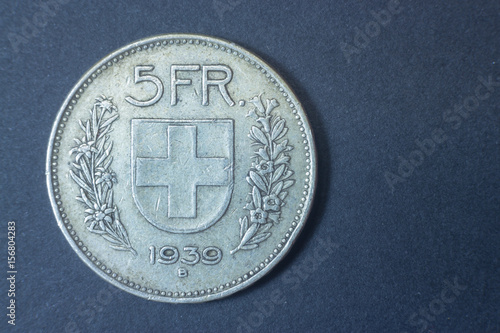 Poster Five swiss francs 1939 Helvetica Silver tail coin, vintage antique old, difficult and rare to find