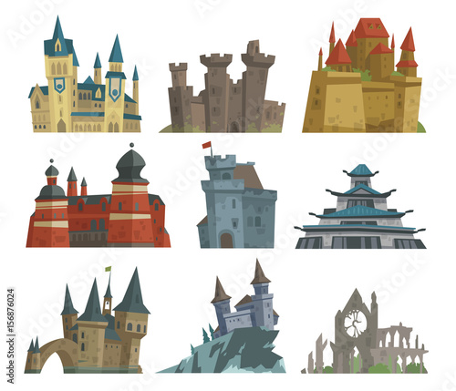 Cartoon fairy tale castle key-stone palace tower icon scarry knight medieval architecture building vector illustration.