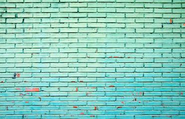 Old Grunge Green Brick Wall Background