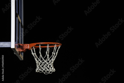 Fotobehang Basketbal Red basketball hoop isolated on black. Basketball ring. With copy space.