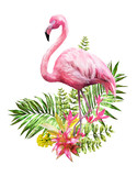Tropical watercolor flowers. card with floral illustration and bird. Bouquet of flowers isolated on white background. Leaf, Flamingo and buds. Exotic composition for invitation