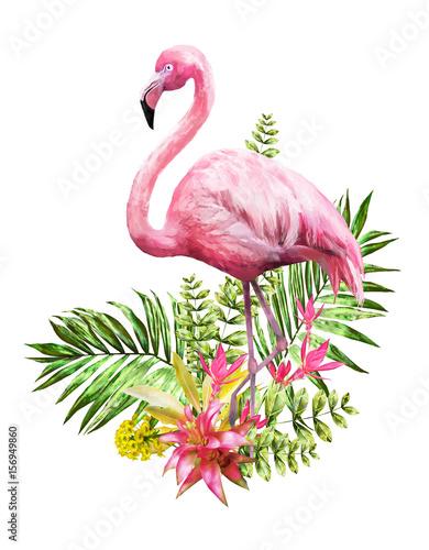 Tropikalne kwiaty akwarela. karta z kwiatową ilustracją i ptak. Bukiet kwiaty odizolowywający na białym tle. Liść, flaming i pąki. Egzotyczna kompozycja na zaproszenie