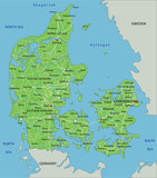 High detailed Denmark physical map with labeling. - 156965466