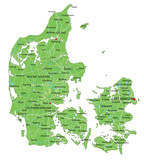 High detailed Denmark physical map with labeling. - 156965821