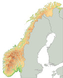High detailed Norway physical map. - 156972029