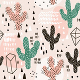 Seamless pattern with cactuses,geometric shapes and hand drawn textures.Perfect for fabric,textile.Vector background - 156974480