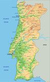 High detailed Portugal physical map with labeling. - 156976678