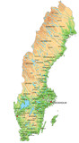 High detailed Sweden physical map with labeling. - 156979656