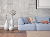 Mock up the living room in a minimalist style on a hipster background.