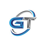 Simple initial letter logo modern swoosh GT