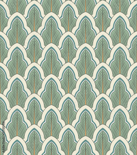 Seamless background oriental botanic garden curve cross leaf chintz - 157013416