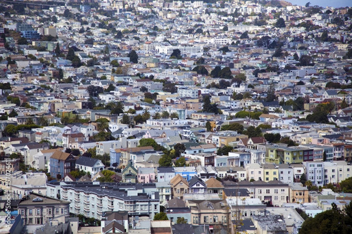 Plexiglas San Francisco Noe Valley district neighborhood in San Francisco seen from Bernal Hill.
