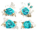 Set of turquoise roses - 157028036