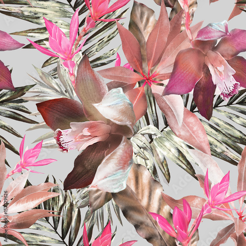 tropical seamless pattern. Exotic leaves, flowers, herbs on white background. Watercolor floral background - 157029626