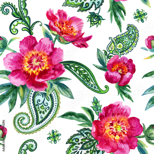 Fototapeta Seamless watercolor pattern of pink peonies and paisley. Illustration drawing on white background.