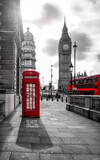red bus and telephone box in front of Big Ben - 157049672