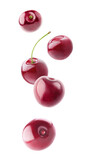 Falling sweet cherry fruits isolated on white background with clipping path