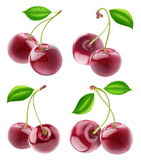 Isolated cherries. Collection of double cherry fruits on stems isolated on white background with clipping path