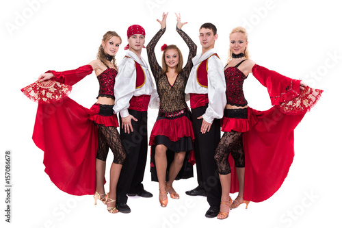flamenko dancer team dancing isolated on white background