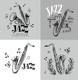Jazz emblem with a saxophone