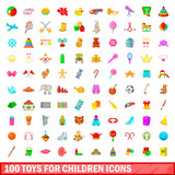 100 toys for children icons set, cartoon style
