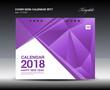 Purple Cover Desk Calendar 2018 Design polygon background  template