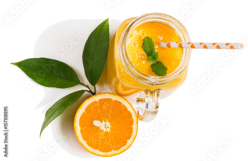 orange drink and orange fruit