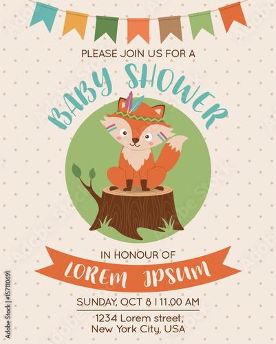 cute fox cartoon illustration for baby shower invitation card