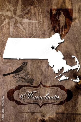 Plakat Poster Massachusetts state map outline