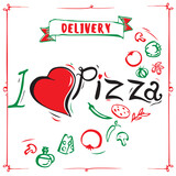 Vintage pizza sign, background, template or pizza box design. I love pizza