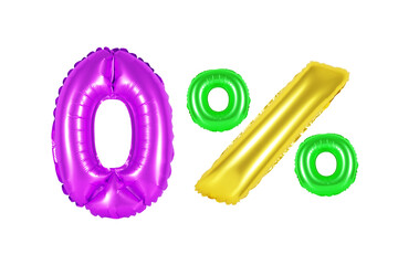 zero 0 percent from balloons colored (rainbow)