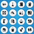 Set Of 16 Editable Cleaning Icons. Includes Symbols Such As Plate, Container, Restroom And More. Can Be Used For Web, Mobile, UI And Infographic Design.