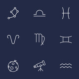 Set Of 9 Galaxy Outline Icons Set.Collection Of Aries, Virgo, Aqurius And Other Elements.