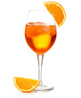 Quadro spritz cocktail in a wineglass garnished with orange slice