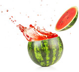 juice exploding out of a watermelon isolated on white background