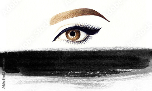 Make up. Woman eye and place for text. Fashion illustration. Watercolor painting