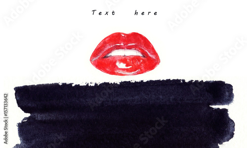Make up. Woman lips and place for text. Fashion illustration. Watercolor painting