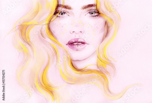Woman with long hair. Fashion illustration. Watercolor painting
