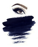 Make up. Woman eyes and place for text. Fashion illustration. Watercolor painting - 157134433